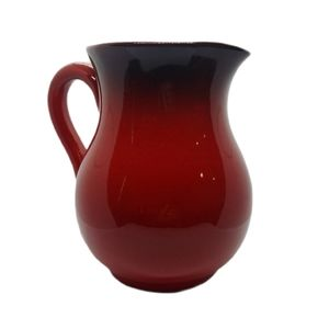 Red Ombre Italian Pottery Pitcher with Handle